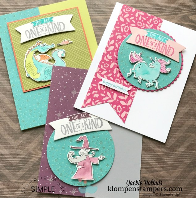 Birthday cards for kids using Magical Day Bundle. By Jackie Bolhuis, klompenstampers.com