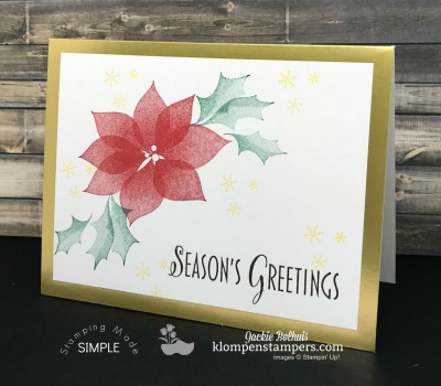Fast Elegant Stylish Christmas Card | Poinsettias