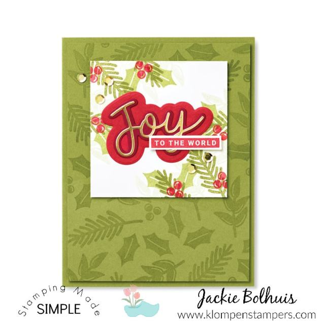 This Joy to the World Christmas card was made with hand stamped background and stickers.