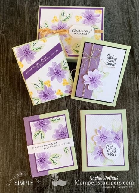 These are 5 of the 11 unique cards you can make with the Stampin' Up! Gorgeous Posies card kit