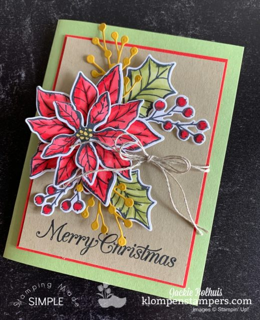 The Stampin' Blends are perfect to color with on this Poinsettia card