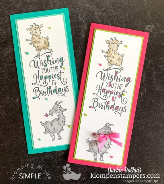 Easy slim line card ideas with the Stampin' Up! Way to Goat stamp set.