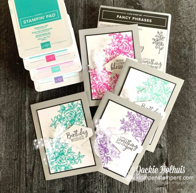 You can make simple DIY cards with an ink color or two, a stamp set, and a little cardstock.