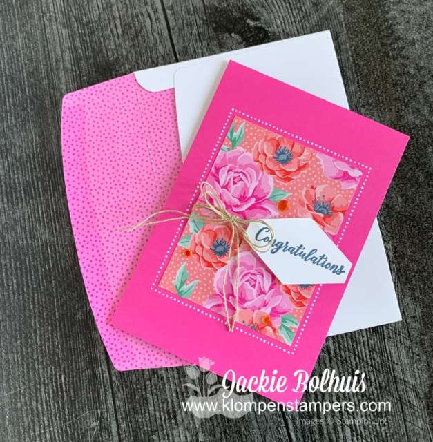 This pink congratulations card has a hand stamped greeting from the Stampin' Up! Happy Thoughts stamp set.