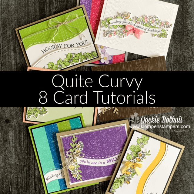 Don't miss out on the Quite Curvy card tutorial that teaches you how to make 8 handmade cards.