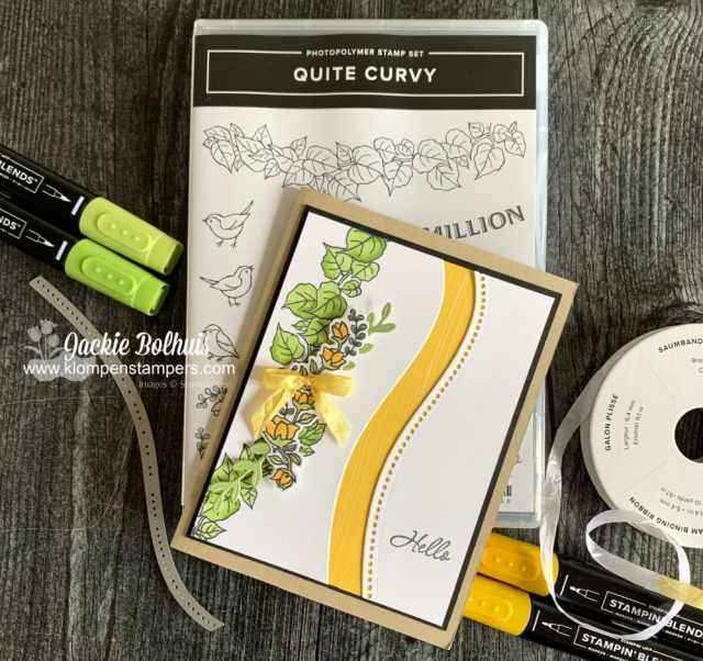 Quite curvy card is so cheerful with yellow flowers and cardstock layer.