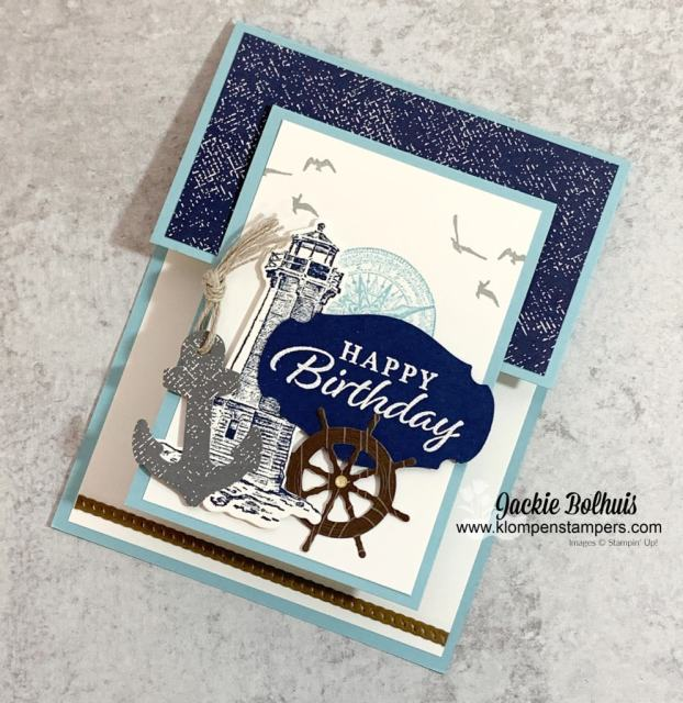 Who doesn't love an easy fun fold card made for a guys birthday card that features the 'High Tide' stamp set.