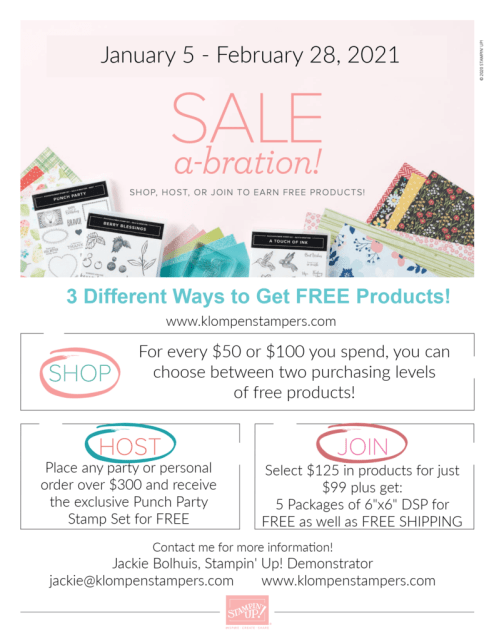 Stampin' Up! Sale-A-Bration gives you opportunity to earn free products for scrapbooking, card making, and paper crafting.