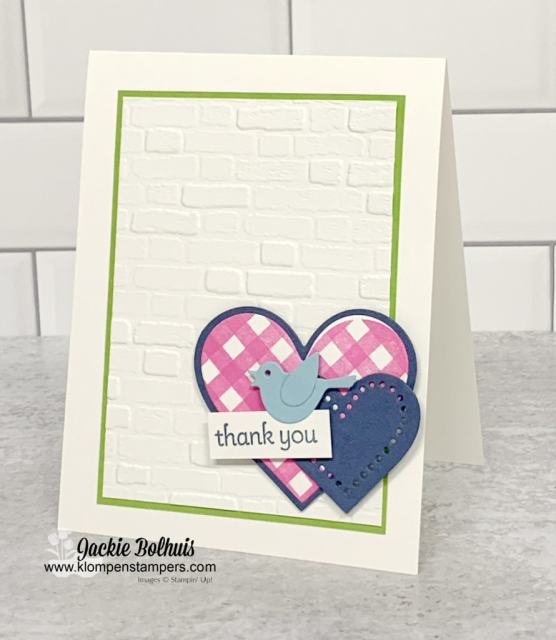 Your cutest greeting cards can be made as a thank you card with embossed background.