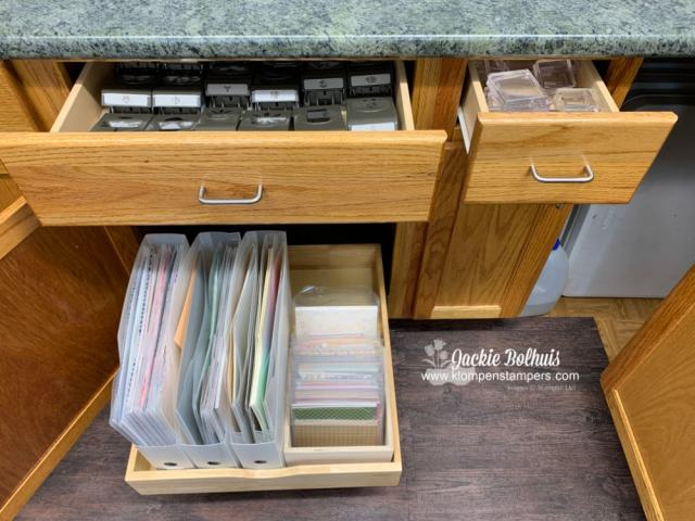 My new craft room has plenty of space for paper storage, punches and clear stamp blocks