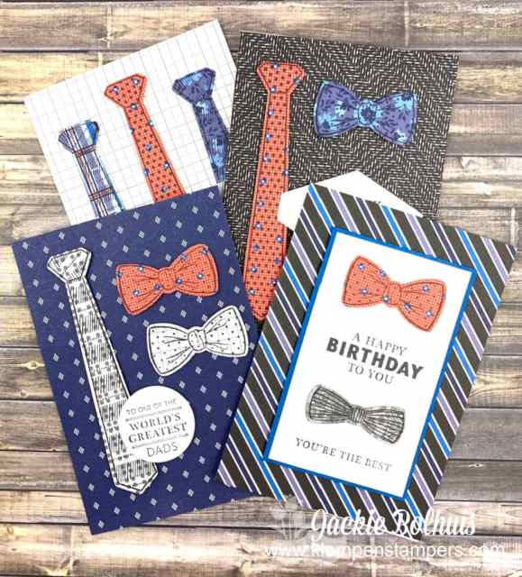 Handmade Birthday Cards for Dad that can be made with the Stampin' Up! Handsomely Suited bundle.