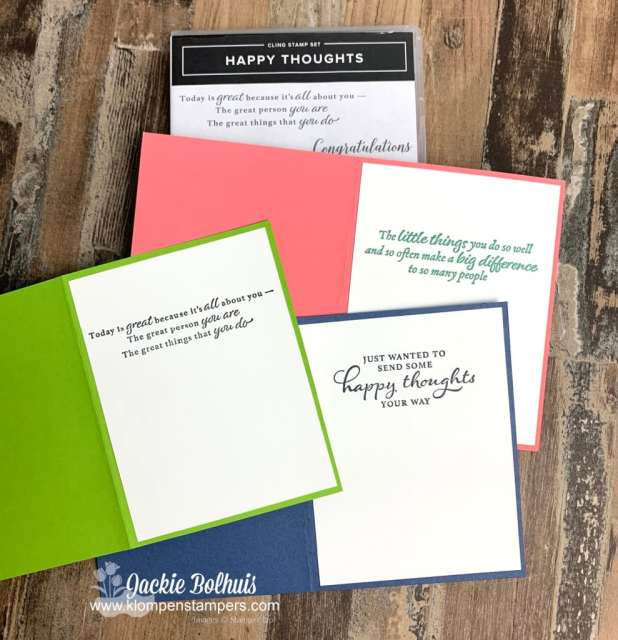 The Stampin' Up! Happy Thoughts stamp set is perfect for the inside of these awesome handmade cards