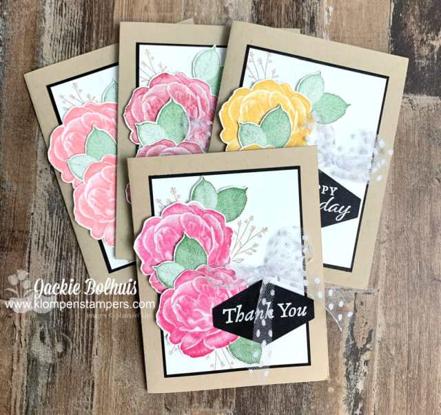 These Healing Hugs cards have such a classic look with the large rose. www.klompenstampers.com/2021/02/card-making-method-save-you-time.html