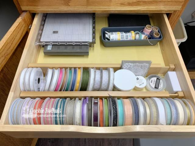 I LOVE my new ribbon storage. I can quickly see all the colors I have available to work with.
