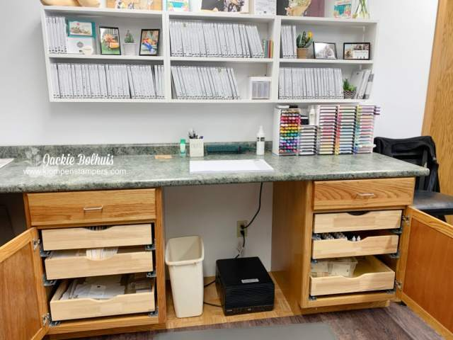 My new craft room is full of drawers for all the little parts and pieces we need in paper crafting.