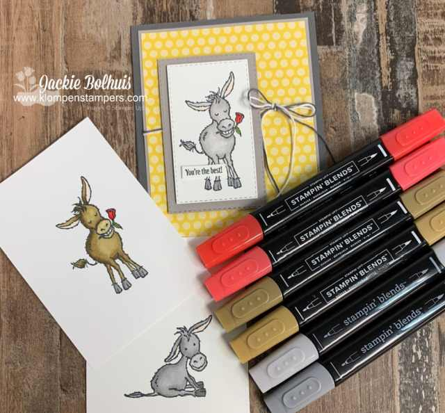 Try using different colors of Stampin Blends on these darling donkeys and see how different your images can look.