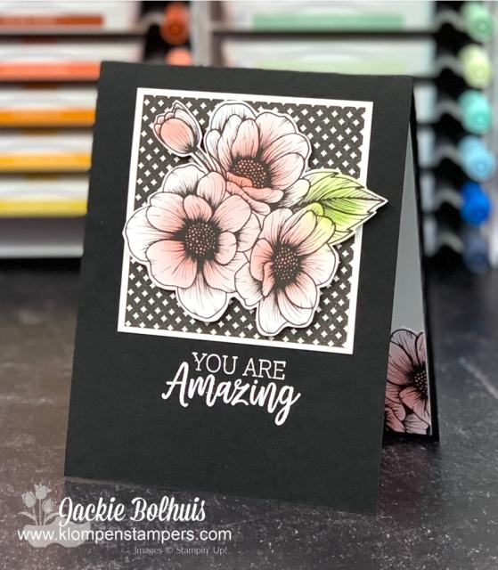 I used my best blending brushes to add soft pinks to these flower centers before adhering them to the front of my card.
