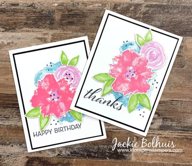 These simple stamped cards are stepped up a little with a layer of black cardstock behind the stamped panel.