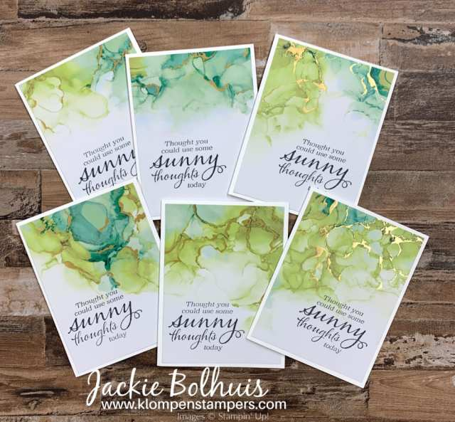 Green watercolor look cards; such thoughtful cards and there is room to stamp right on the paper.
