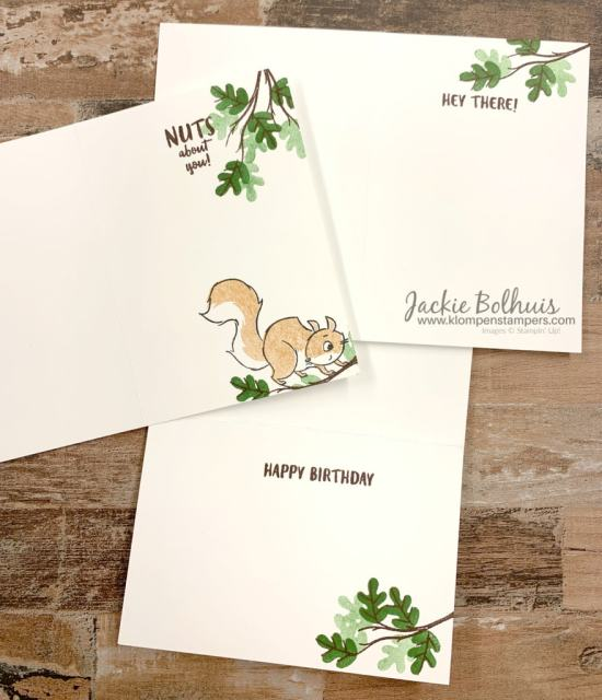 Cute-handmade-cards-are-stamped-with-squirrel-and-leaves-inside-the-cards-and-on-the-envelope