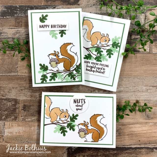 Cute-handmade-cards-were-hand-stamped-with-Stampin-Up-Nuts-about-squirrels.