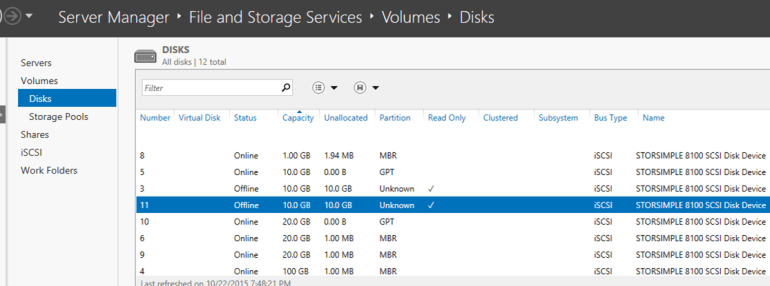 StorSimple Volume available to Windows Host