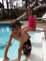 Kids braved the 60-degree pool water.