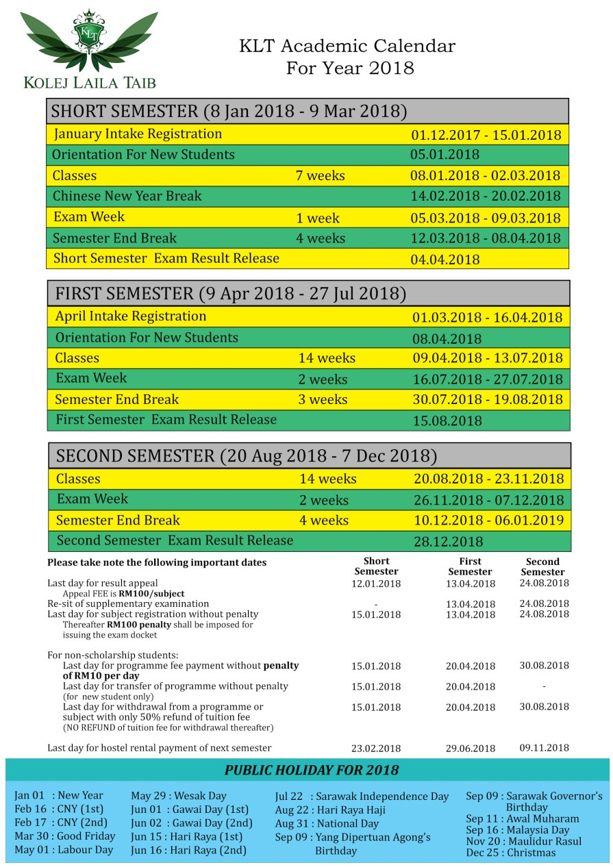 KLT Academic Calendar 2018