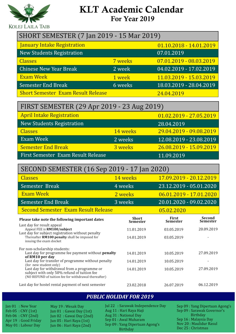 KLT Academic Calendar 2019
