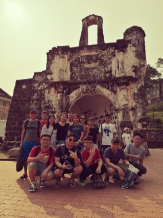 KLT students and lecturer visiting the famous historical place, A Famosa fortress in Melaka