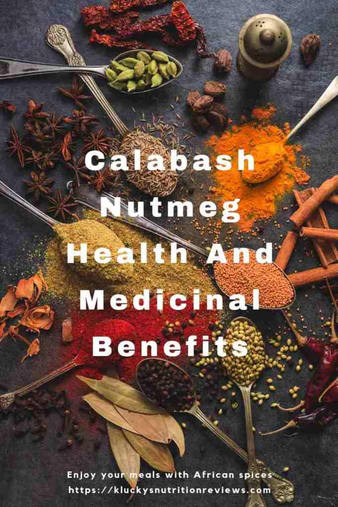 Calabash nutmeg medicinal and health benefits blog graphic.