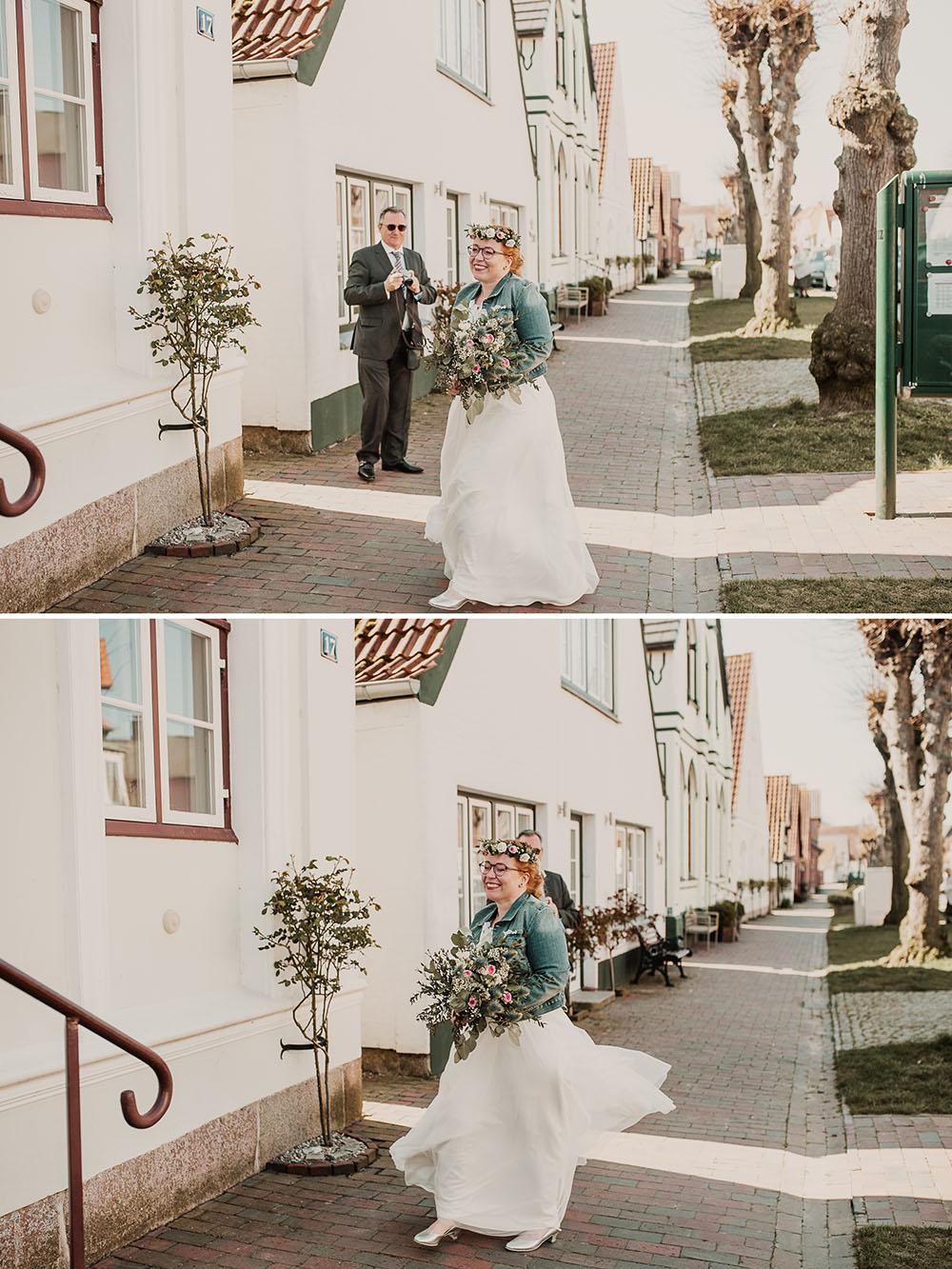 Braut trifft im Rathaus Arnis ein