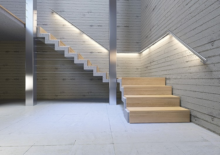 Led Lighting For Stairs And Handrails Klusdesign Com   Tubular Design For Stairs   Finished   Minimalist   Decorative Wood Railing   Contemporary   Home Tower