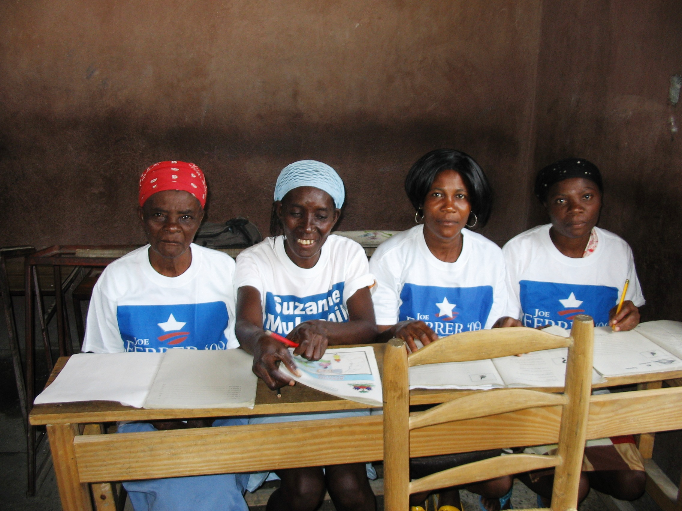 Cite Soleil, students in campaign T-shirts 2