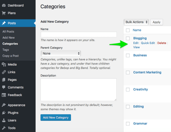 KLWightman.com WordPress Categories Blog Post Tool Editor