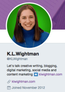 Twitter Bio @KLWightman