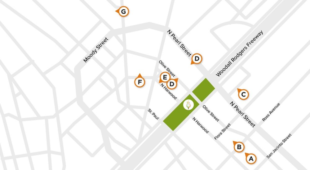 Map of Nearby Parking at Klyde Warren Park