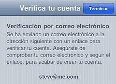 pantalla de verificación de cuenta