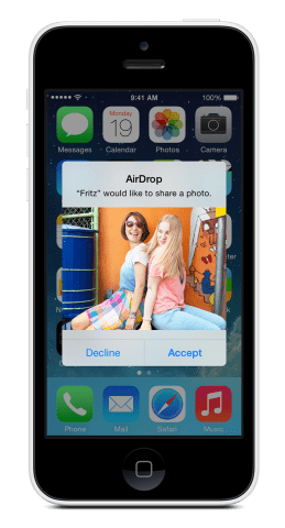 file sent received preview on iphone airdrop