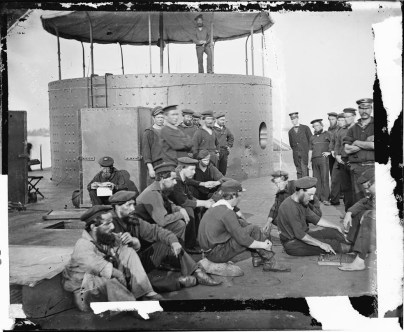 Sailors Relaxing on Deck of USS Monitor - James River, VA, July 1862