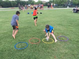 Water balloon relay races