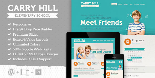 Tema WordPress Carry Hill School