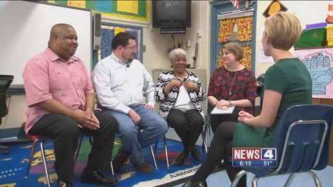 Leaster Arps-Widmark (second from the right) was re-united with many of her former students at Griffith Elementary School. Credit: KMOV