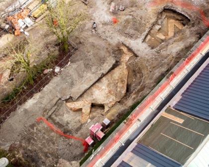 Luchtfoto archeologisch vooronderzoek. Foto: Karen Borghouts