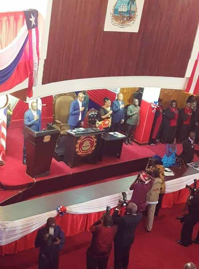 President Weah at 3rd annual message to National Legislature , Liberia
