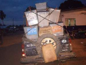 The vehicle Loaded with Ballot Boxes Parked at the Police Station In Ganta On Thursday's Night