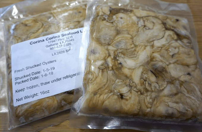 pack of frozen oysters