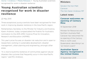 Media release: Young Australian Scientists Recognised for Work in Disaster Resilience