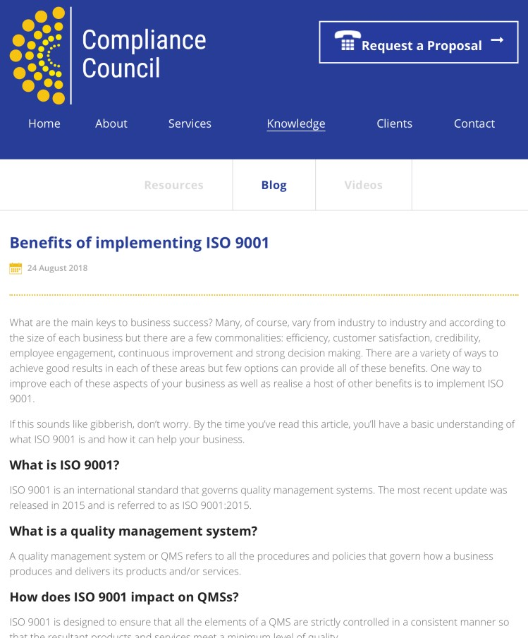 Blog post on the benefits of implementing ISO 9001