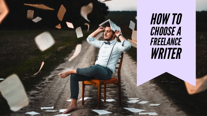 How to choose a freelance writer: an image of a barefoot man sitting in a chair in the middle of a dirt road with paper falling all around him and the article title overlaid (How to choose a freelance writer)
